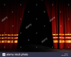 Curtains Show Stage Curtains Red Velvet With Gold Half Open Opening Night