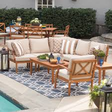Teak Sectional Patio Furniture by Belham Living Brighton Outdoor Wood Conversation Sectional Set