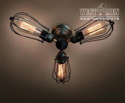 Edison Bulb Ceiling Light Westmenlights Farmhouse Cage Ceiling Chandelier Rustic 3 Lights
