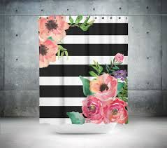 Black And White Striped Bedroom Curtains Black U0026 White Stripes Floral Shower Curtain Floral Shower