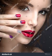 beautiful bright evening makeup red stock photo 271078124