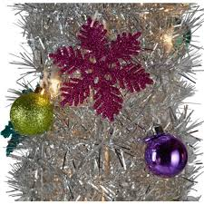 silver tinsel pop up tree 6ft trees