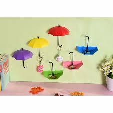 adhesive wall hooks umbrella shape plastic wall adhesive nail pegging 3pcs decorative