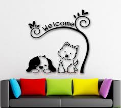 e241 cute animal welcome diy dog cat mural pet shop spa grooming e241 cute animal welcome diy dog cat mural pet shop spa grooming salon veterinary wall decal wall stickers vinyl art home decor stars wall stickers sticker