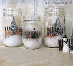 winter scene in a mason jar in the garage