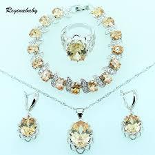 orange necklace sets images Reginababy glowing orange morganite silver color bridal jewelry jpg