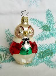 inge blown glass owl ornament west germany collectibles
