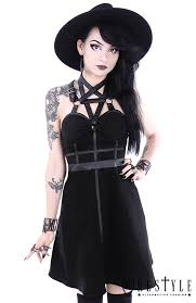party dress pentagram party dress dress leather straps o rings