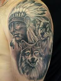 Wolf Indian Tattoos - black and grey indian chief with two wolf on left half