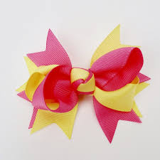 pink hair bow yellow hot pink 4 large hair bow clip laila