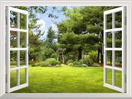 016beautiful garden view out of the open window jpg