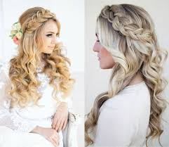 classy choice of half up and half down wedding hairstyles for