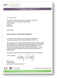 charity donation letter thank you charity work balshaw s church of england high school please see this lovely letter below from age concern thanking us for the hampers and how they made a difference