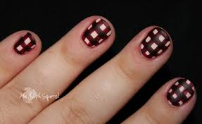 60 beautiful gingham style nail art design ideas