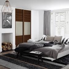 Sliding Wardrobes Doors Spacepro Shaker Wideline Sliding Wardrobe Door Walnut White Glass