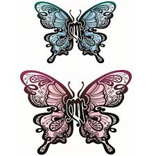 yeeech temporary tattoos sticker for butterfly blue pink
