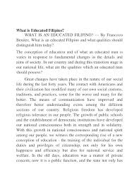 what is educated filipino by francisco benitez
