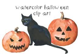 halloweenclipart watercolor halloween clip art illustrations creative market