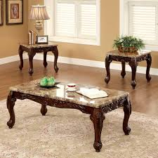 Wood Accent Table Furniture Of America Traditional Carnes 3 Piece Accent Table Set