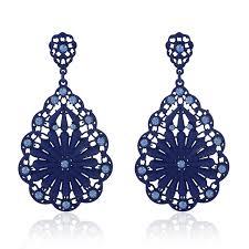 blue drop earrings ethnic big bohemian flower women drop earrings blue