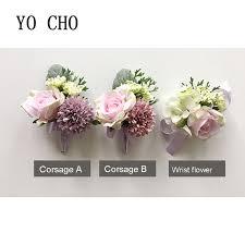 prom wrist corsage yo cho bridesmaid berries pink groom boutonnier ribbon