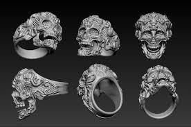 skullring filigree skull ring ornament 3d model 3d printable obj stl