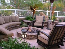 Tropical Patio Design Fabulous Designer Outdoor Furniture With Brick Fire Pit For
