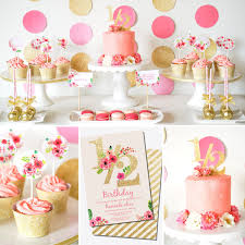 Gold And Pink Party Decorations Hannah U0027s Half Year Birthday Party In Gold Glitter And Pink Florals