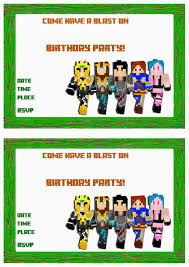 minecraft birthday invitations free template 28 images 40th