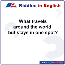 what travels around the world but stays in one spot images Learn english free riddles what travels around the world but png