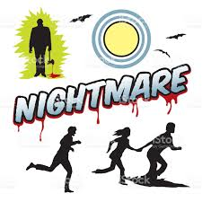 nightmare word headline with people running and moon stock vector