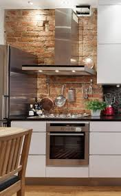 kitchen with red brick wall house design ideas