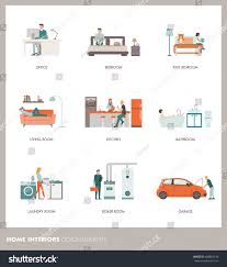 conceptual home room interiors people objects stock vector
