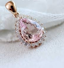 light diamond necklace images 18k rose gold 1 9 karats rare find light pink morganite diamond jpg