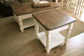 farmhouse coffee and end tables coffee table and end set for rack rustic pine farmhouse homemade