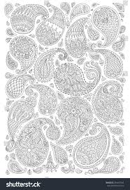 White Decorative Branches Exotic Paisley Decorative Elements Fantastic Flowers Stock Vector