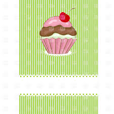 Cherry Cupcake Invitation Card Royalty Cupcake With Pink Cream And Cherry Berry On Striped Background