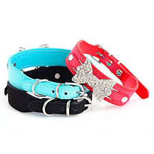 leather bow necklace images Super deal dog collar bling crystal with leather bow necklace pet jpg