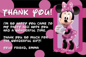 minnie mouse thank you cards minnie mouse thank you card with photo and background options
