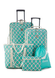 Wyoming travel shoe bags images New directions 5 piece turquoise trellis luggage set belk