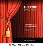 Movie Drapes Drawing Of Red Stage Drapes In A Movie Theatre Setting