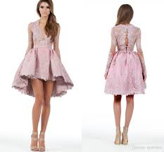 cheap 2016 new design party dresses lace applique long sleeves hi