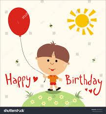 happy birthday card cute little boy stock illustration 257000419