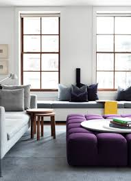 Purple Ottoman by Living Room Windows Framed Grey Sofa Lounge White Accent Wall