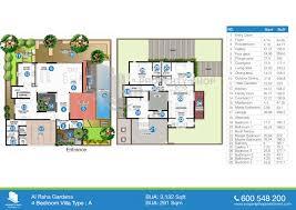 4 bedroom floor plans floor plan of al mariah al raha gardens