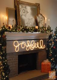 a classic christmas mantel white lights and brass accents