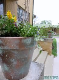 diy faux copper planters