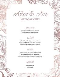 brown rustic floral wedding menu templates by canva