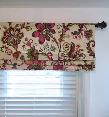 floral faux roman shade lined mock valance garden crewel