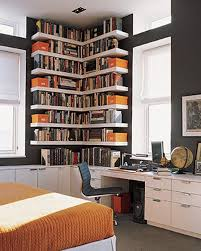 wood corner bookcase home organization tall black white polished wood corner